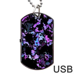 Splatter Blue Pink Dog Tag USB Flash (One Side)