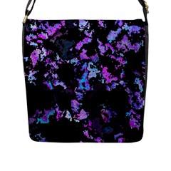 Splatter Blue Pink Flap Messenger Bag (L)