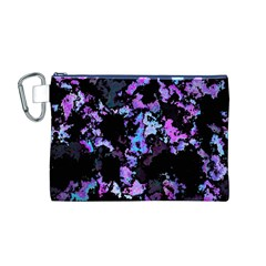 Splatter Blue Pink Canvas Cosmetic Bag (M)