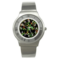 Splatter Red Green Stainless Steel Watches