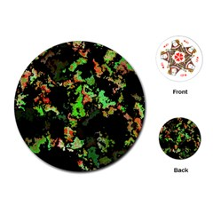 Splatter Red Green Playing Cards (Round)