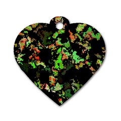 Splatter Red Green Dog Tag Heart (One Side)