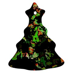 Splatter Red Green Christmas Tree Ornament (2 Sides)