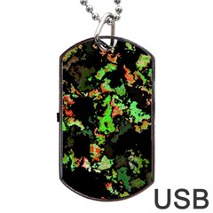 Splatter Red Green Dog Tag Usb Flash (two Sides)