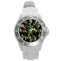 Splatter Red Green Round Plastic Sport Watch (L)