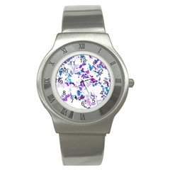 Splatter White Lilac Stainless Steel Watches