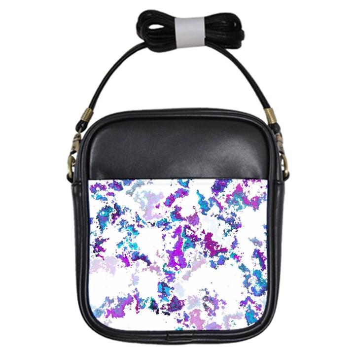 Splatter White Lilac Girls Sling Bags