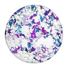 Splatter White Lilac Ornament (Round Filigree)