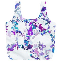 Splatter White Lilac Full Print Recycle Bags (L)