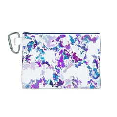 Splatter White Lilac Canvas Cosmetic Bag (M)