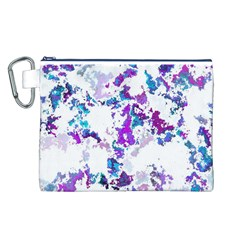 Splatter White Lilac Canvas Cosmetic Bag (L)