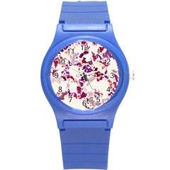 Splatter White Round Plastic Sport Watch (S)