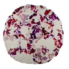 Splatter White Large 18  Premium Flano Round Cushions