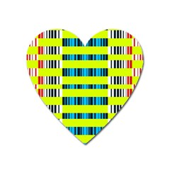 Rectangles and vertical stripes pattern Magnet (Heart)