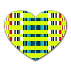 Rectangles and vertical stripes pattern Heart Mousepad
