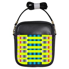 Rectangles and vertical stripes pattern Girls Sling Bag