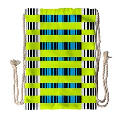 Rectangles and vertical stripes pattern Large Drawstring Bag