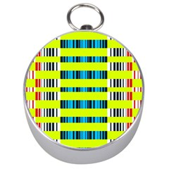 Rectangles and vertical stripes pattern Silver Compass