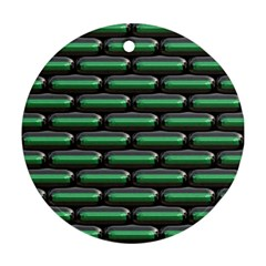 Green 3d Rectangles Pattern Ornament (round)