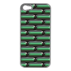 Green 3D rectangles pattern Apple iPhone 5 Case (Silver)