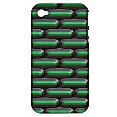 Green 3D rectangles pattern Apple iPhone 4/4S Hardshell Case (PC+Silicone)