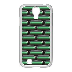 Green 3D rectangles pattern Samsung GALAXY S4 I9500/ I9505 Case (White)