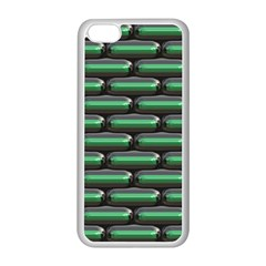 Green 3D rectangles pattern Apple iPhone 5C Seamless Case (White)
