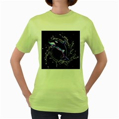Orca With Glowing Line Jumping Out Of A Circle Mad Of Water Women s Green T-Shirt