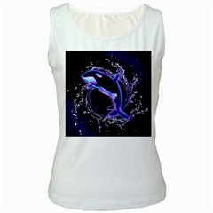 Orca With Glowing Line Jumping Out Of A Circle Mad Of Water Women s Tank Tops