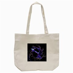 Orca With Glowing Line Jumping Out Of A Circle Mad Of Water Tote Bag (cream)