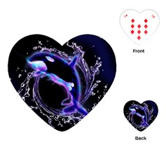 Orca With Glowing Line Jumping Out Of A Circle Mad Of Water Playing Cards (heart)