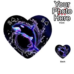 Orca With Glowing Line Jumping Out Of A Circle Mad Of Water Playing Cards 54 (heart)