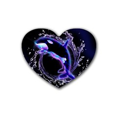 Orca With Glowing Line Jumping Out Of A Circle Mad Of Water Rubber Coaster (Heart)