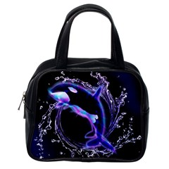 Orca With Glowing Line Jumping Out Of A Circle Mad Of Water Classic Handbags (One Side)