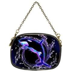Orca With Glowing Line Jumping Out Of A Circle Mad Of Water Chain Purses (One Side)