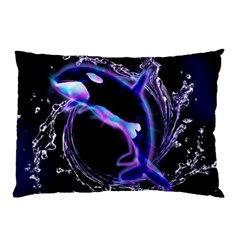 Orca With Glowing Line Jumping Out Of A Circle Mad Of Water Pillow Cases