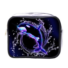 Orca With Glowing Line Jumping Out Of A Circle Mad Of Water Mini Toiletries Bags