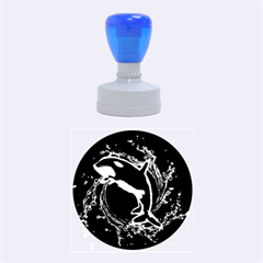 Orca With Glowing Line Jumping Out Of A Circle Mad Of Water Rubber Round Stamps (medium)