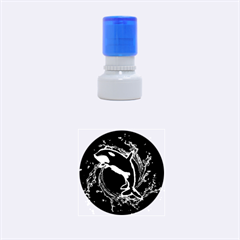 Orca With Glowing Line Jumping Out Of A Circle Mad Of Water Rubber Round Stamps (Small)