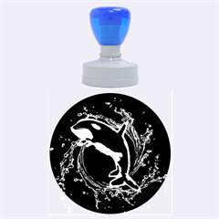 Orca With Glowing Line Jumping Out Of A Circle Mad Of Water Rubber Round Stamps (Large)
