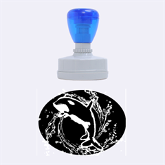 Orca With Glowing Line Jumping Out Of A Circle Mad Of Water Rubber Oval Stamps