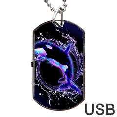 Orca With Glowing Line Jumping Out Of A Circle Mad Of Water Dog Tag USB Flash (One Side)