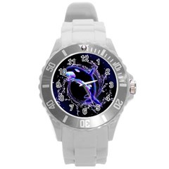 Orca With Glowing Line Jumping Out Of A Circle Mad Of Water Round Plastic Sport Watch (L)