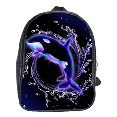 Orca With Glowing Line Jumping Out Of A Circle Mad Of Water School Bags (XL)