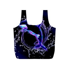 Orca With Glowing Line Jumping Out Of A Circle Mad Of Water Full Print Recycle Bags (S)