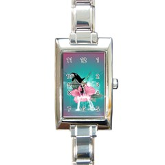 Orca Jumping Out Of A Flower With Waterfalls Rectangle Italian Charm Watches