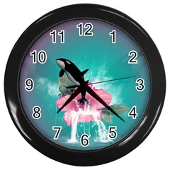 Orca Jumping Out Of A Flower With Waterfalls Wall Clocks (Black)
