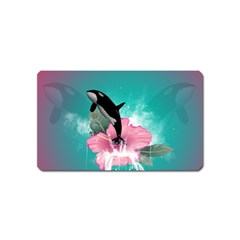 Orca Jumping Out Of A Flower With Waterfalls Magnet (Name Card)
