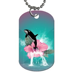 Orca Jumping Out Of A Flower With Waterfalls Dog Tag (Two Sides)