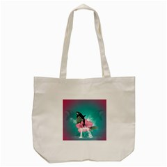 Orca Jumping Out Of A Flower With Waterfalls Tote Bag (cream)